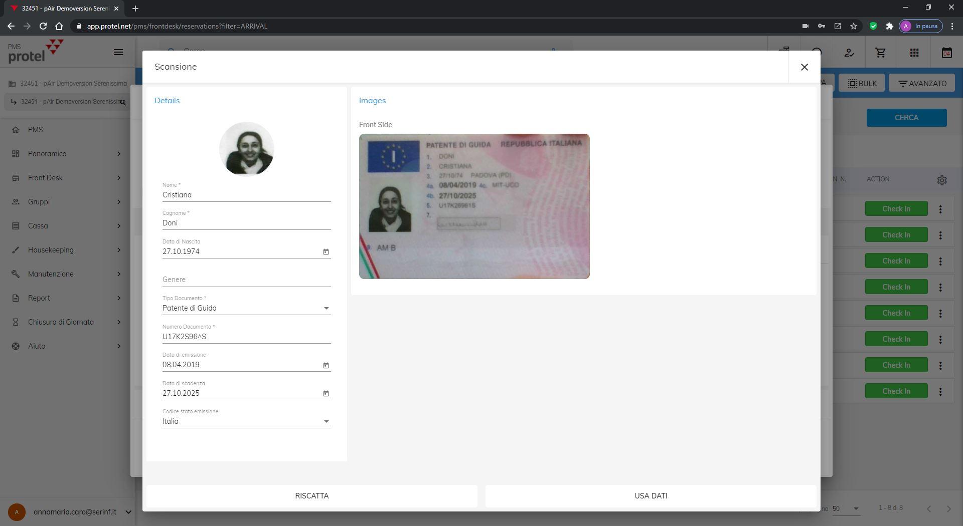 protel Air acquisisce i documenti d'identità dei tuoi ospiti dalla webcam del tuo pc o tablet.