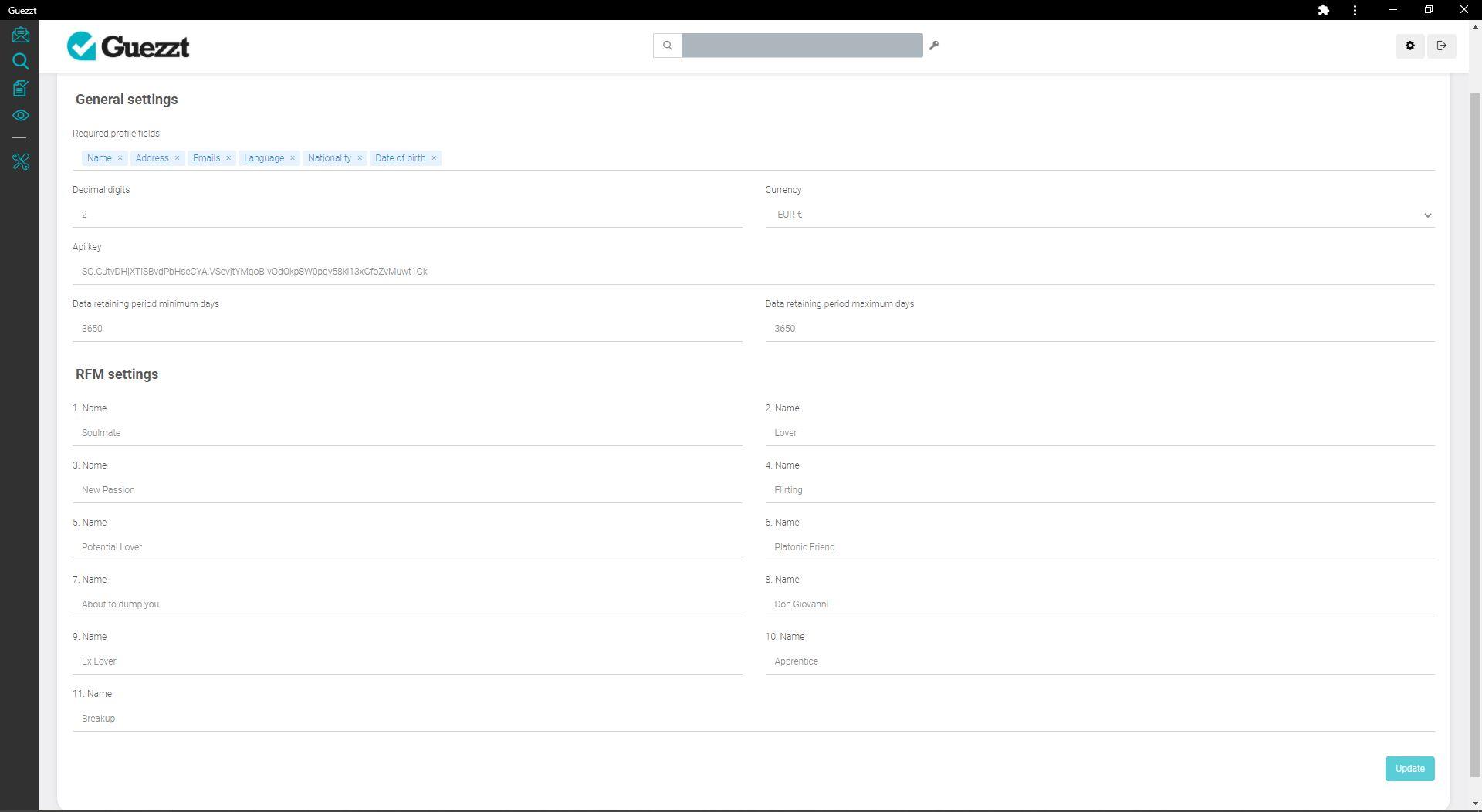 Screen Guezzt Comportamento dei clienti + Indice RFM